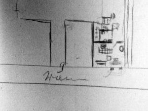 Szkic przedstawiający miejsce ukrycia obrazów Fransa Halsa i Józefa Brandta